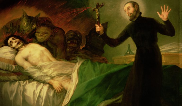 St. Francis Borgia (1510-72) Helping a Dying Impenitent, 1795 (oil on canvas)