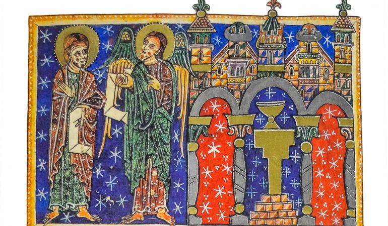 """Dangiškasis pasiuntinys perduoda Jonui laiškus septynioms bažnyčioms (Ap, 1, 13-16; fone vaizduojamas vienos iš jų """"pjūvis"""", atskleidžiantis centre esantį altorių su Mišių taure). Beatas Liebanietis. Apokalipsės komentaras. San Andres de Arroyo rankraštis, XIII a."""