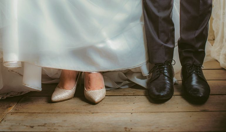 Bride and Groom Feet in Wedding Marriage Ceremony