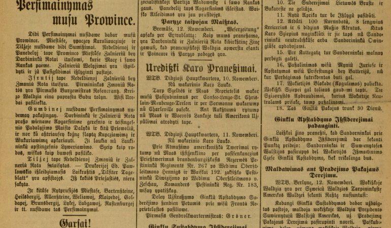 """Viliaus Kučiaus redaguoto """"Konservatyvų draugystės laiško"""" titulinis puslapis 1918 m. lapkričio 15 d."""