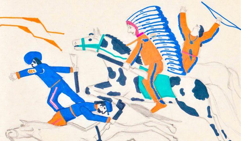 """Prerijų indėnų kautynės su """"mėlynmunduriais"""". Dailininkas Raimundas Vitkus"""