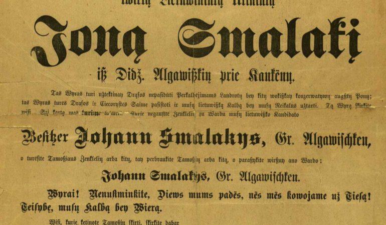 Skelbimas, raginantis balsuoti už Joną Smalakį 1893 m. Prūsijos Landtago rinkimuose
