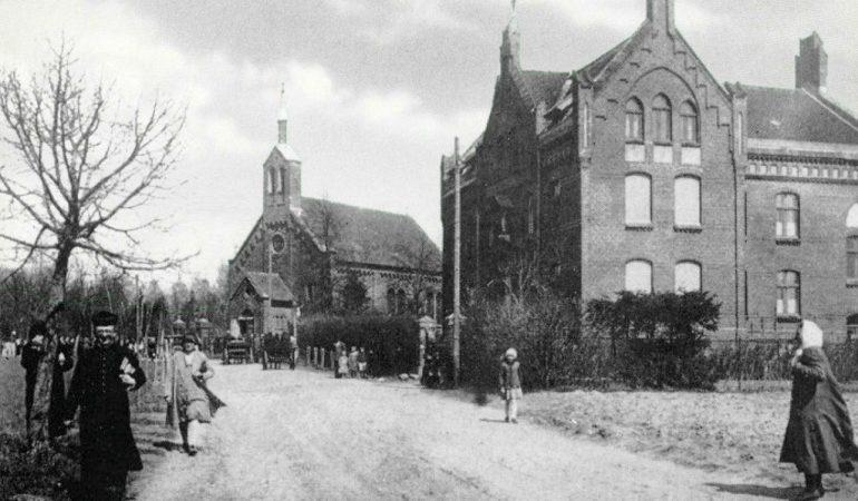 Žibų (Šilutės) katalikų bažnyčia ir našlaičių namai XX a. pradžioje