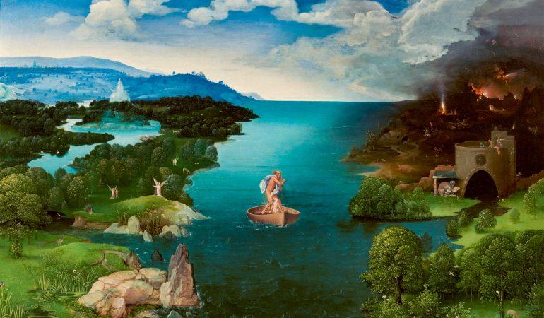"""Kairėje tolumoje matyti Stiklo miestas. Joachim Patinir. """"Persikėlimas per Stikso upę"""" (1524).  Nuotrauka: El Prado muziejus (Madridas)."""